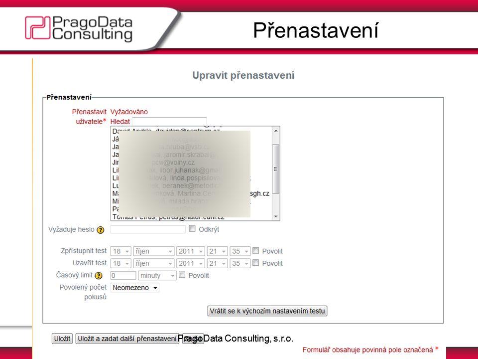 MoodleMoot.cz 2011PragoData Consulting, s.r.o. Přenastavení PragoData Consulting, s.r.o.