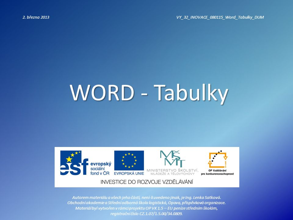 WORD - Tabulky 2.