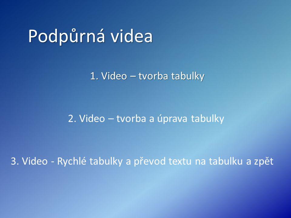 Podpůrná videa 1. Video – tvorba tabulky 1. Video – tvorba tabulky 2. Video – tvorba a úprava tabulky 3. Video - Rychlé tabulky a převod textu na tabu
