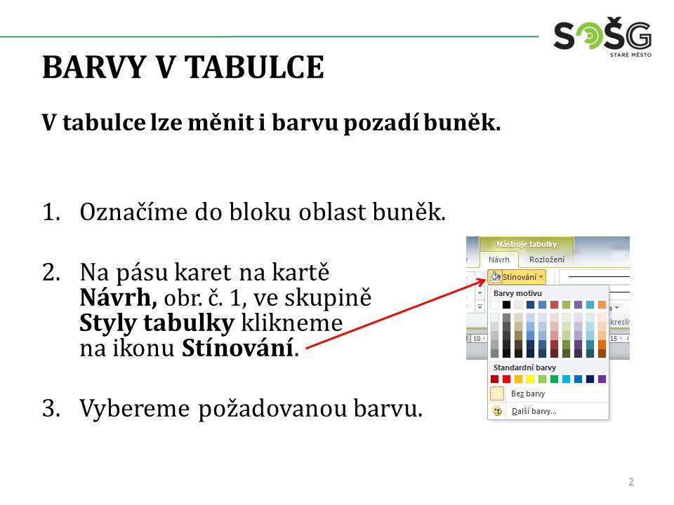 BARVY V TABULCE V tabulce lze měnit i barvu pozadí buněk.