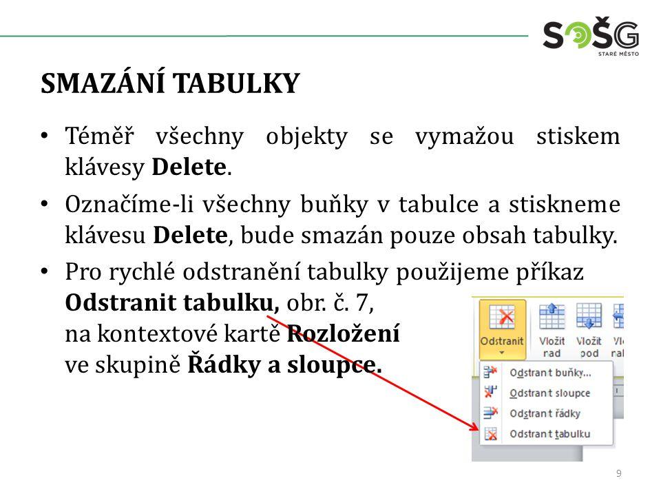 SMAZÁNÍ TABULKY 9 Téměř všechny objekty se vymažou stiskem klávesy Delete.