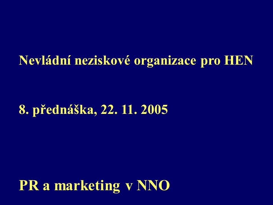 Nevládní neziskové organizace pro HEN 8. přednáška, 22. 11. 2005 PR a marketing v NNO