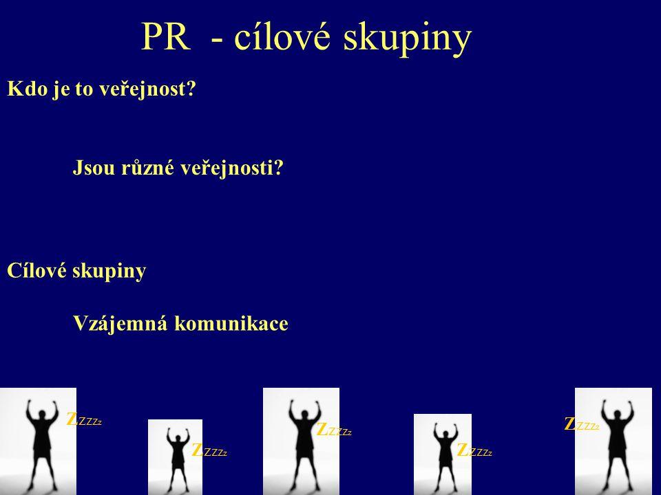 PR - cílové skupiny Kdo je to veřejnost. Jsou různé veřejnosti.