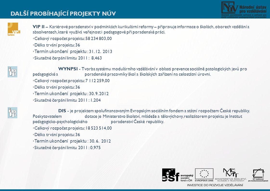 DALŠÍ PROBÍHAJÍCÍ PROJEKTY NÚV VIP II – Kariérové poradenství v podmínkách kurikulární reformy – připravuje informace o školách, oborech vzdělání a ab