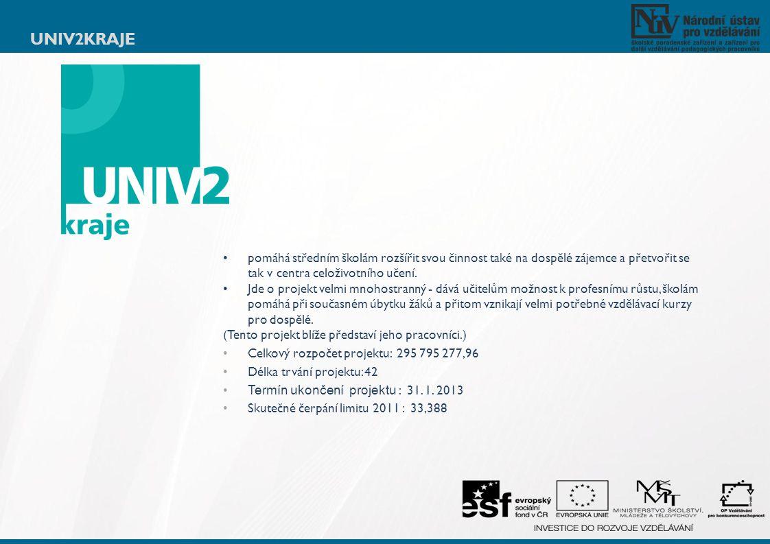 UNIV2KRAJE pomáhá středním školám rozšířit svou činnost také na dospělé zájemce a přetvořit se tak v centra celoživotního učení. Jde o projekt velmi m