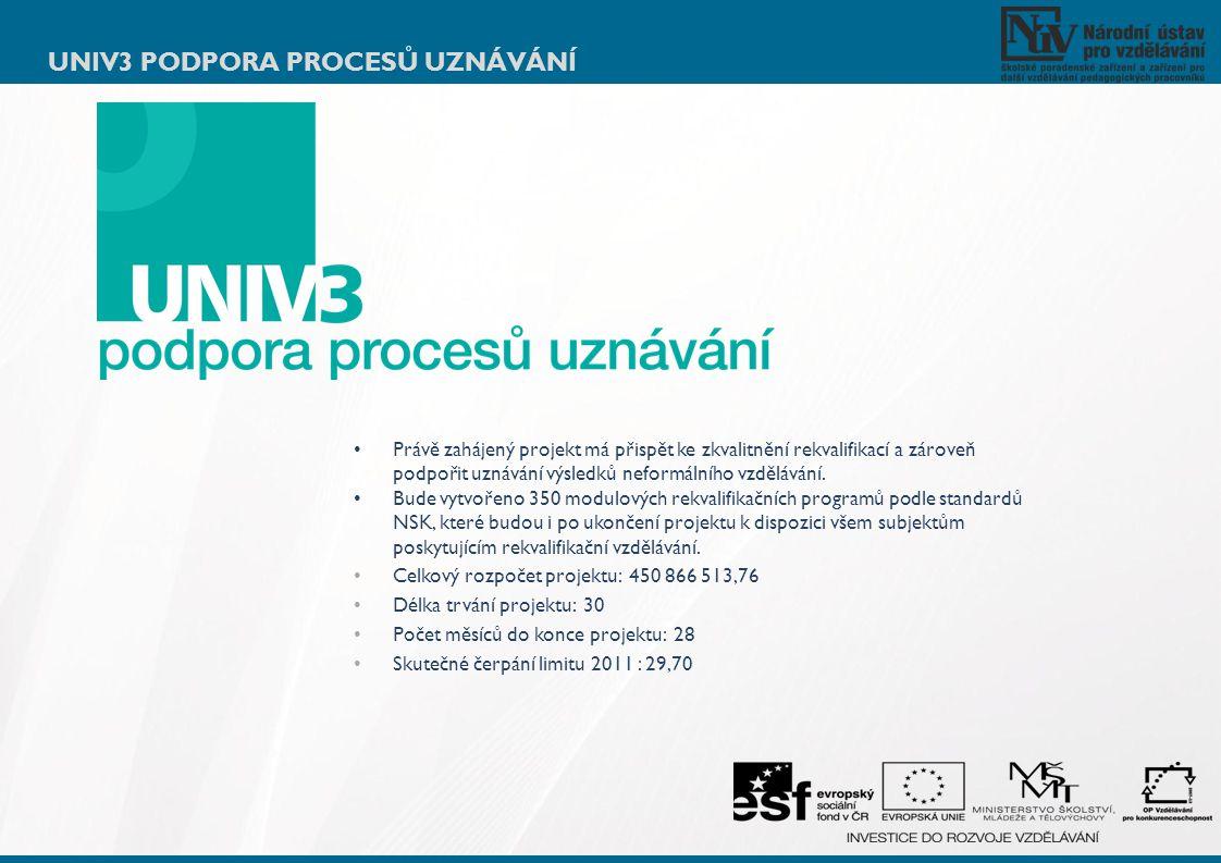UNIV3 PODPORA PROCESŮ UZNÁVÁNÍ Právě zahájený projekt má přispět ke zkvalitnění rekvalifikací a zároveň podpořit uznávání výsledků neformálního vzdělá