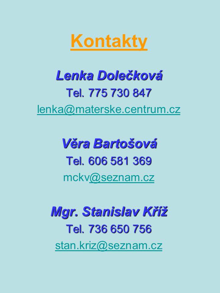 Kontakty Lenka Dolečková Tel. 775 730 847 lenka@materske.centrum.cz Věra Bartošová Tel. 606 581 369 mckv@seznam.cz@seznam.cz Mgr. Stanislav Kříž Tel.