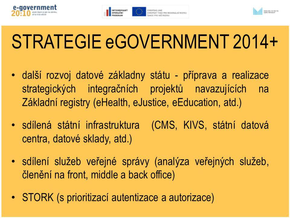 STRATEGIE eGOVERNMENT 2014+ další rozvoj datové základny státu - příprava a realizace strategických integračních projektů navazujících na Základní registry (eHealth, eJustice, eEducation, atd.) sdílená státní infrastruktura (CMS, KIVS, státní datová centra, datové sklady, atd.) sdílení služeb veřejné správy (analýza veřejných služeb, členění na front, middle a back office) STORK (s prioritizací autentizace a autorizace)