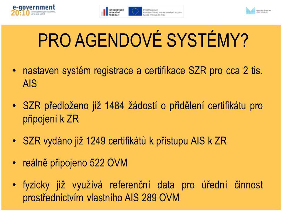 PRO AGENDOVÉ SYSTÉMY. nastaven systém registrace a certifikace SZR pro cca 2 tis.