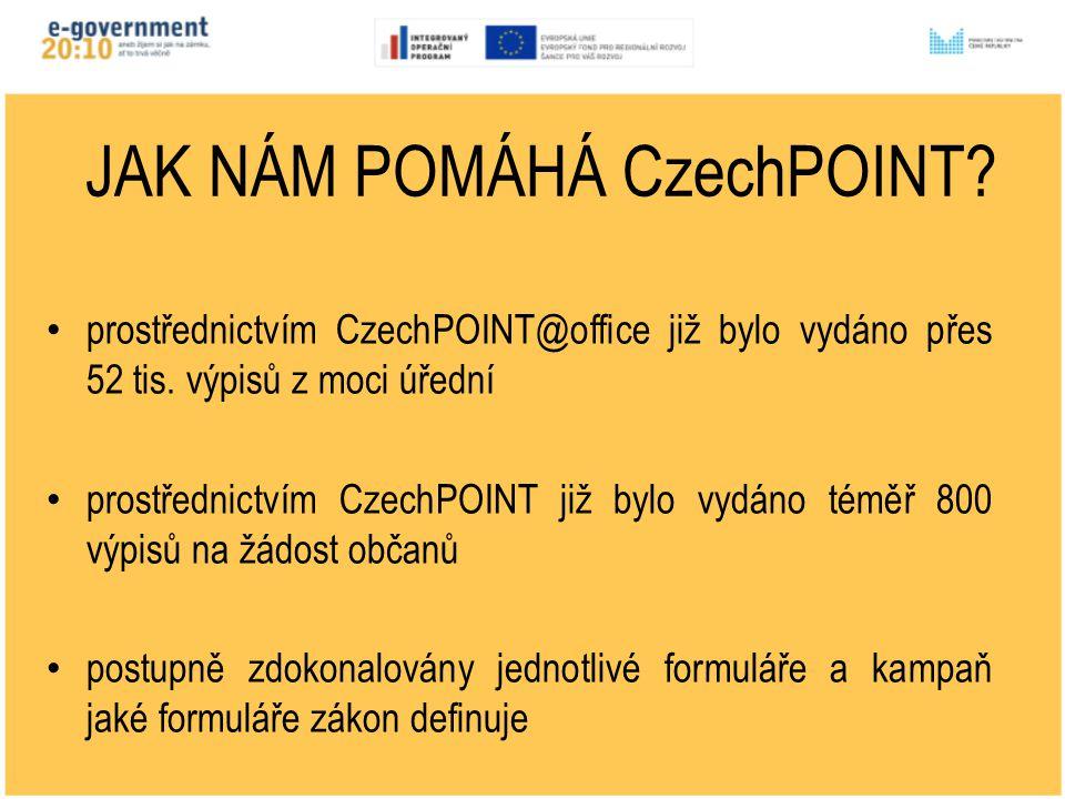 ŘED JAK NÁM POMÁHÁ CzechPOINT. prostřednictvím CzechPOINT@office již bylo vydáno přes 52 tis.
