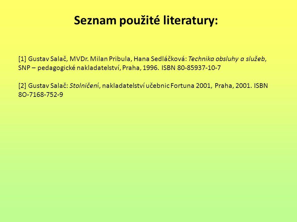 Seznam použité literatury: [1] Gustav Salač, MVDr. Milan Pribula, Hana Sedláčková: Technika obsluhy a služeb, SNP – pedagogické nakladatelství, Praha,