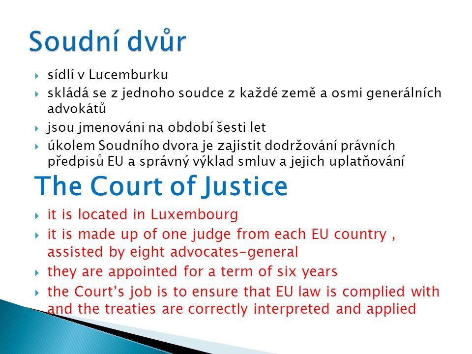  sídlí v Lucemburku  skládá se z jednoho soudce z každé země a osmi generálních advokátů  jsou jmenováni na období šesti let  úkolem Soudního dvor