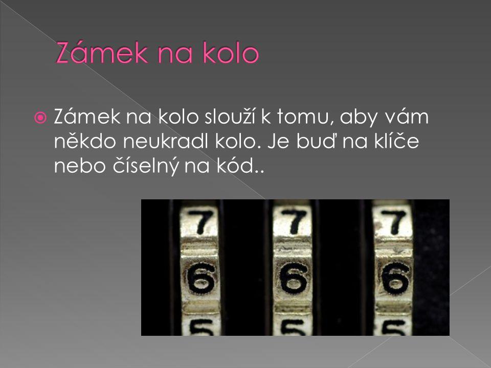  Zámek na kolo slouží k tomu, aby vám někdo neukradl kolo. Je buď na klíče nebo číselný na kód..