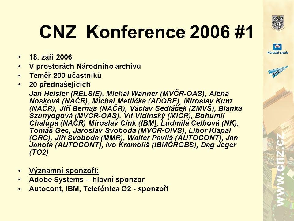 www.cnz.cz CNZ Konference 2006 #1 18. září 2006 V prostorách Národního archívu Téměř 200 účastníků 20 přednášejících Jan Heisler (RELSIE), Michal Wann