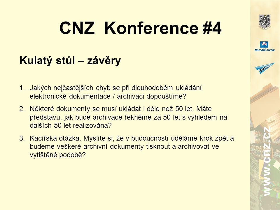 www.cnz.cz CNZ Konference #4 Kulatý stůl – závěry 1.Jakých nejčastějších chyb se při dlouhodobém ukládání elektronické dokumentace / archivaci dopouštíme.
