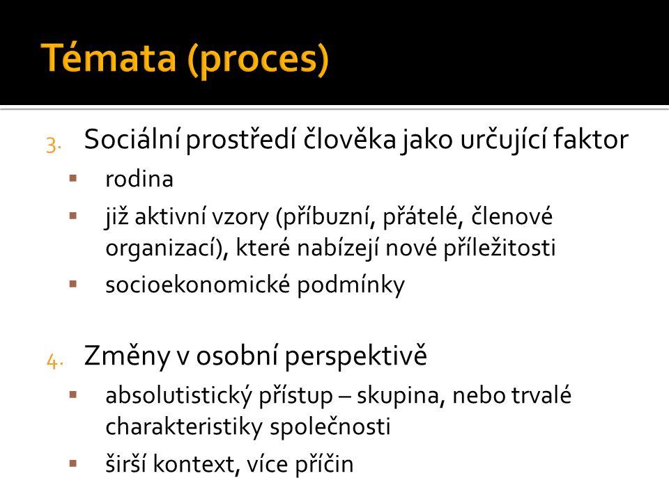 3. Sociální prostředí člověka jako určující faktor  rodina  již aktivní vzory (příbuzní, přátelé, členové organizací), které nabízejí nové příležito