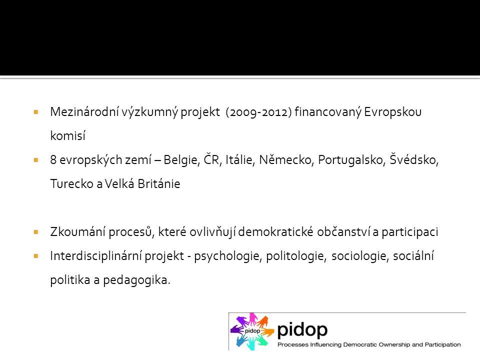  Mezinárodní výzkumný projekt (2009-2012) financovaný Evropskou komisí  8 evropských zemí – Belgie, ČR, Itálie, Německo, Portugalsko, Švédsko, Turecko a Velká Británie  Zkoumání procesů, které ovlivňují demokratické občanství a participaci  Interdisciplinární projekt - psychologie, politologie, sociologie, sociální politika a pedagogika.