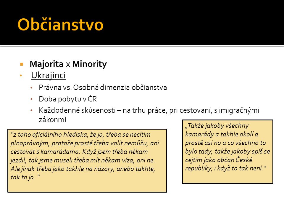  Majorita x Minority Ukrajinci Právna vs.
