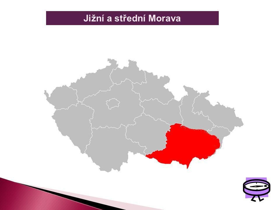 JIŽNÍ A STŘEDNÍ MORAVA Je to území s dávným osídlením pro své mírné teplé podnebí, úrodnou půdu a dostatek vody. Najdeme zde mnoho kulturních a histor