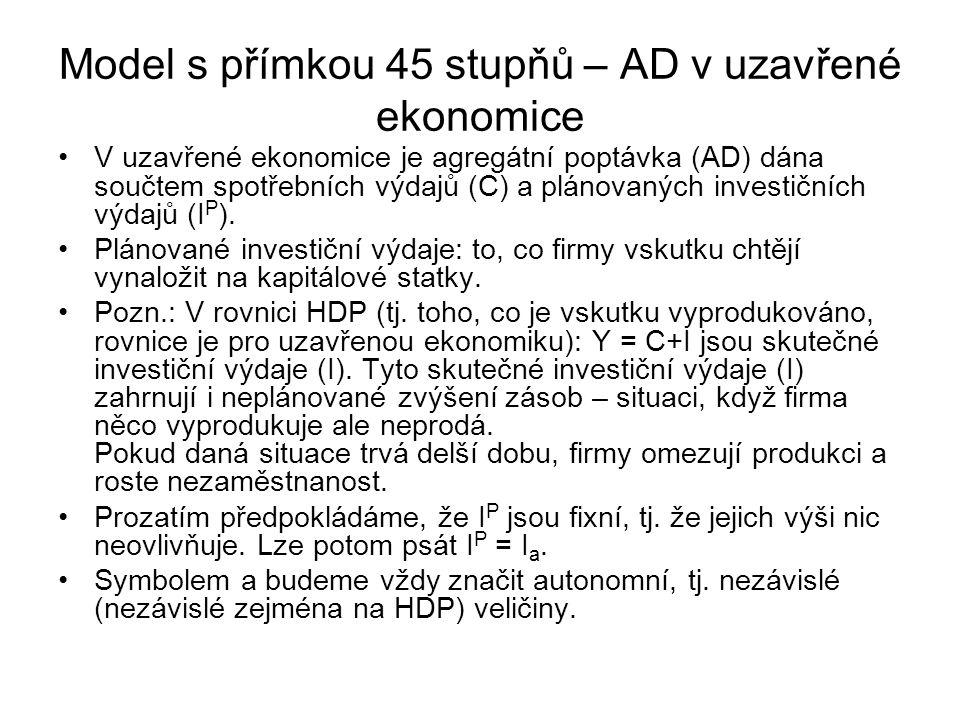 Model s přímkou 45 stupňů – spotřební výdaje Model předpokládá, že spotřební výdaje (C) se skládají ze dvou složek: - 1.