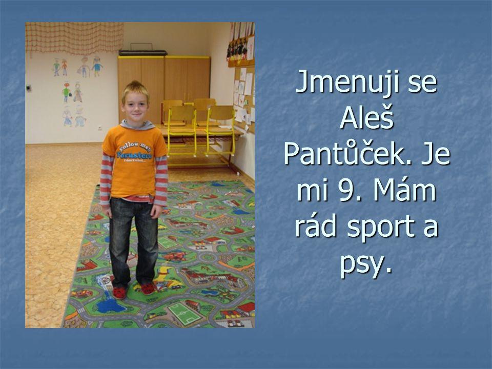 Jmenuji se Aleš Pantůček. Je mi 9. Mám rád sport a psy.