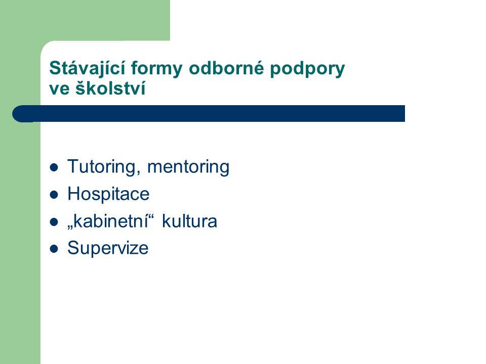 """Stávající formy odborné podpory ve školství Tutoring, mentoring Hospitace """"kabinetní"""" kultura Supervize"""
