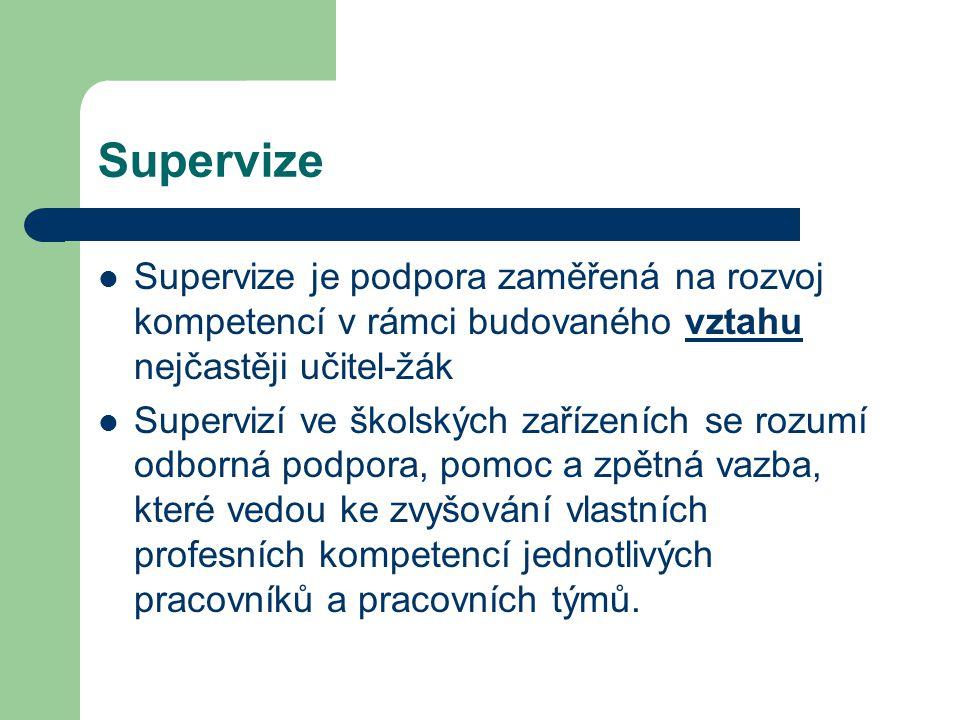 Supervize Supervize je podpora zaměřená na rozvoj kompetencí v rámci budovaného vztahu nejčastěji učitel-žák Supervizí ve školských zařízeních se rozu