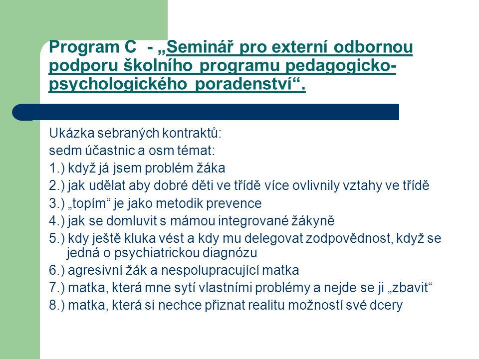 """Program C - """"Seminář pro externí odbornou podporu školního programu pedagogicko- psychologického poradenství"""". Ukázka sebraných kontraktů: sedm účastn"""