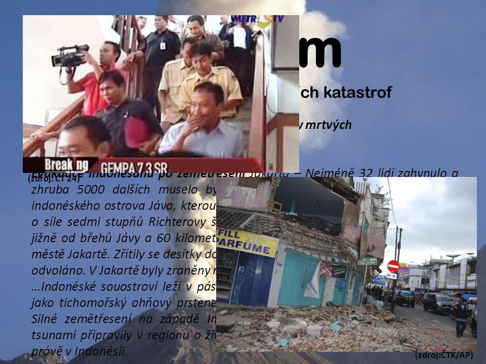 Úvodem Mediální obraz fenoménu p ř írodních katastrof Velké zemětřesení v Indonésii si vyžádalo desítky mrtvých vloženo: 2.