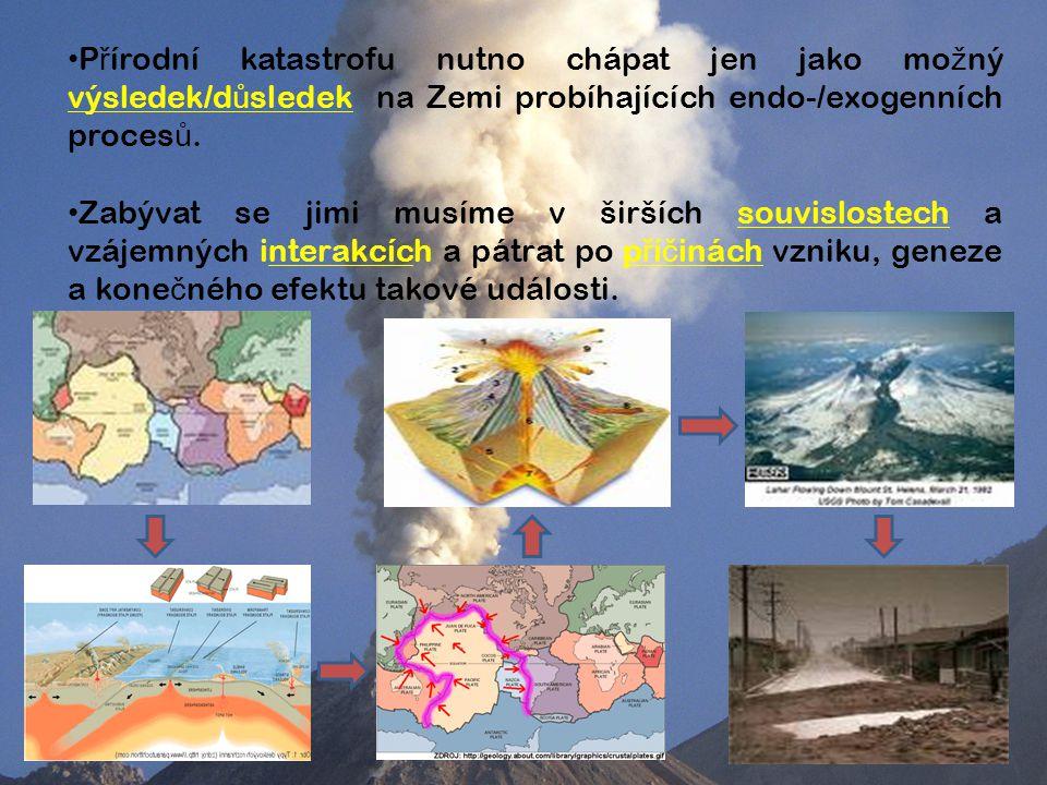 P ř írodní katastrofu nutno chápat jen jako mo ž ný výsledek/d ů sledek na Zemi probíhajících endo-/exogenních proces ů.