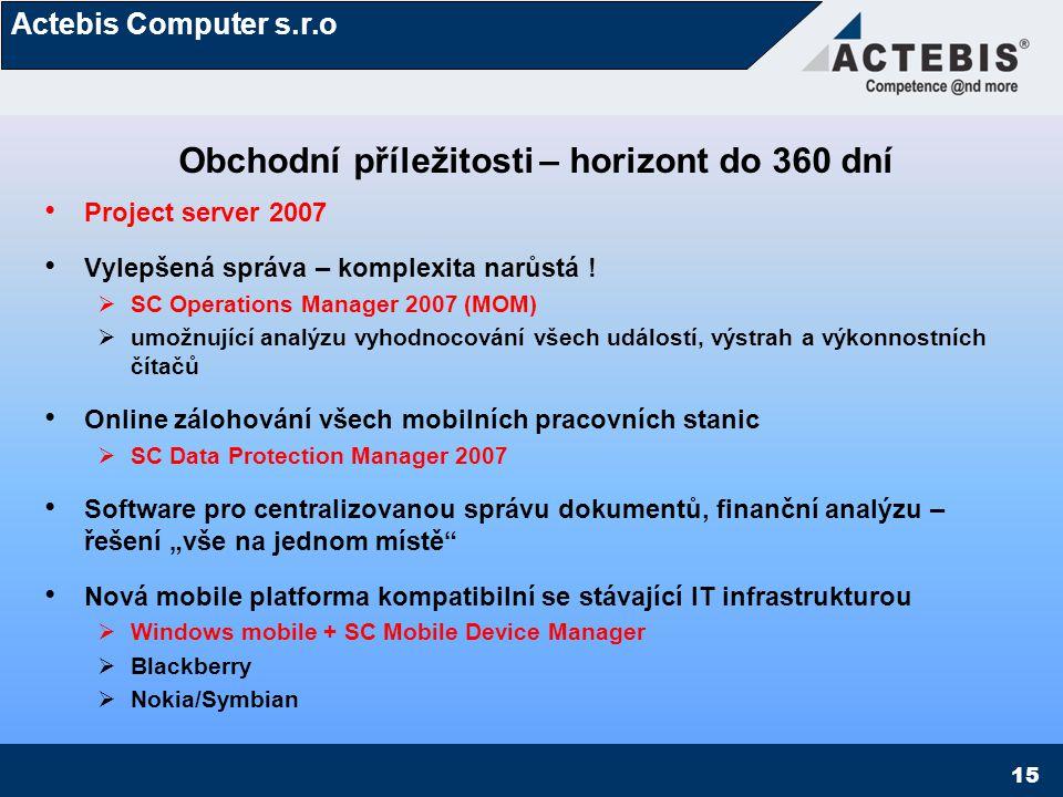 Actebis Computer s.r.o 15 Obchodní příležitosti – horizont do 360 dní Project server 2007 Vylepšená správa – komplexita narůstá !  SC Operations Mana
