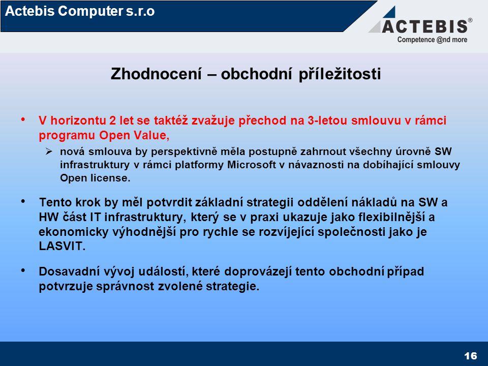 """Actebis Computer s.r.o 17 Slovo závěrem Myslete na budoucnost a přesvědčte o tom i Vašeho zákazníka Buďte chytřejší a budete bohatší Vhodná volba produktové platformy a licenčně obchodního modelu Vám umožní """"růst společně se zákazníkem a přinese Vám další nové obchodní příležitosti XXX konec roku 2007XXX konec roku 2008  1 pobočka5x pobočka  1x SBS server4x Windows server/3x Echange server  10x klientvíce než 70x klient a tak dále Společnost SPC–net je právě díky tomuto přístupu již více než rok výhradním realizátorem IT infrastruktury a IT správcem této perspektivní SMB firmy – gratulujeme !"""