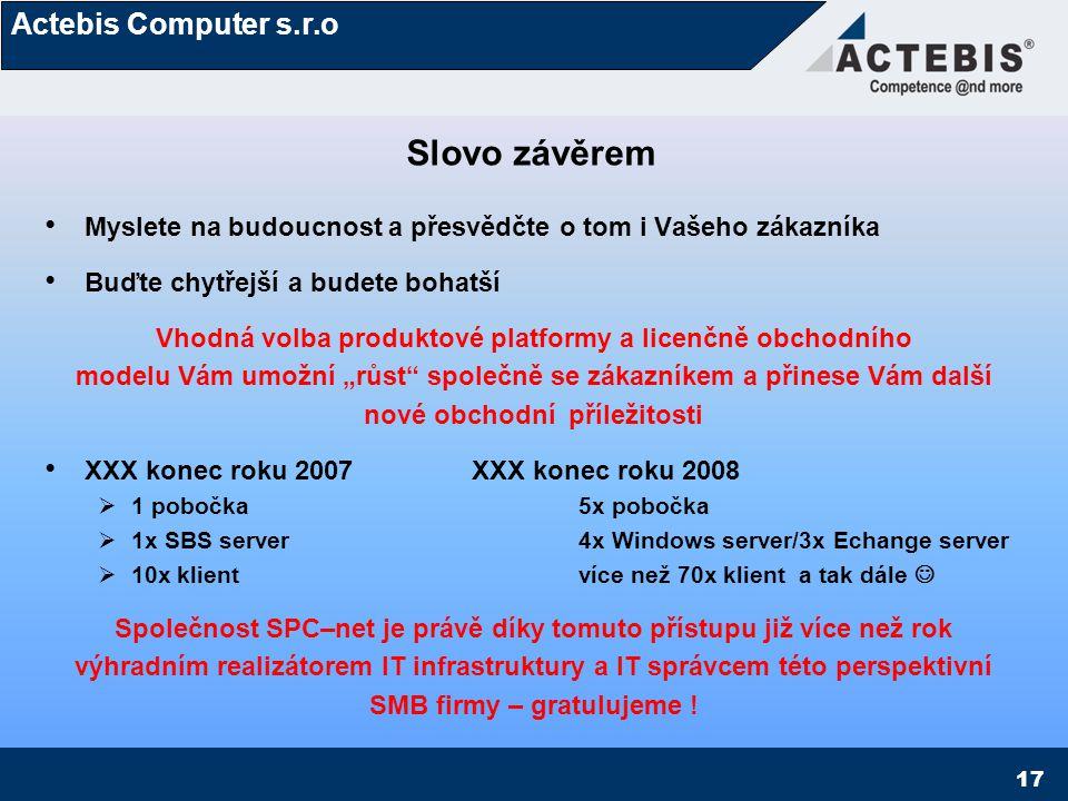 Actebis Computer s.r.o 18 XXX  Zadavatel a koncový odběratel řešení Michal Hažmuka SPC-net  Realizátor řešení, reseller www.spc-net.cz www.spc-net.cz Actebis Computer s.r.o.