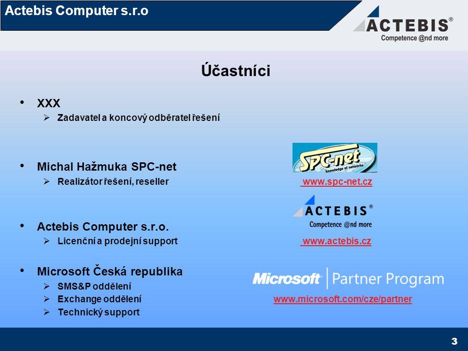 Actebis Computer s.r.o 3 Účastníci XXX  Zadavatel a koncový odběratel řešení Michal Hažmuka SPC-net  Realizátor řešení, reseller www.spc-net.cz www.