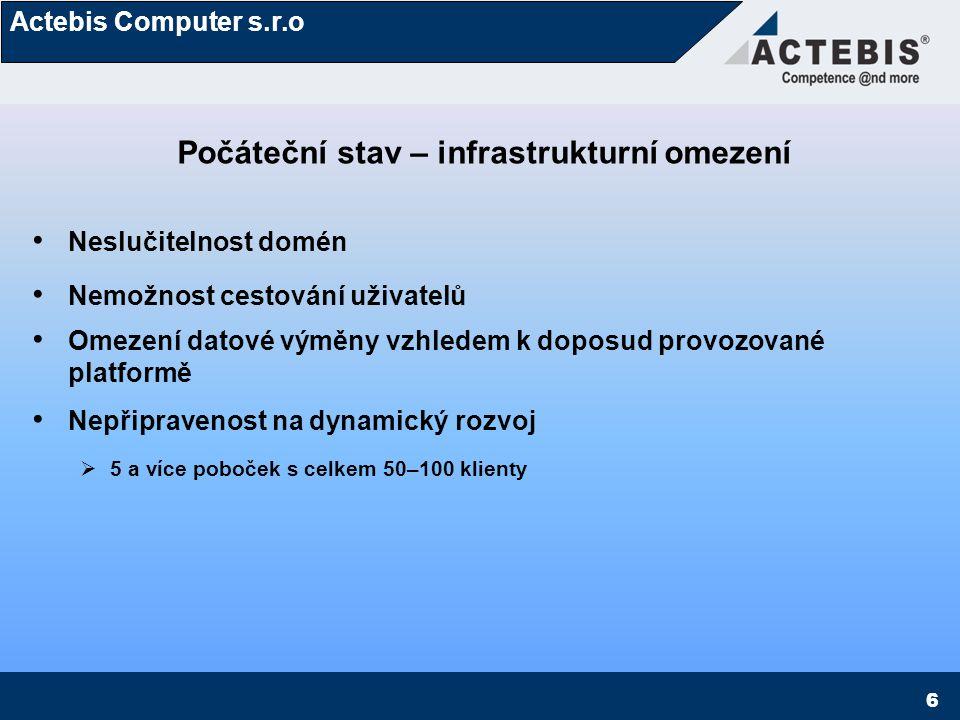 Actebis Computer s.r.o 7 Požadovaný stav – zadání pro SPC–net návrh HW/SW infrastruktury reflektující dynamický rozvoj v perspektivě 1-5 let Konsolidace domén - jedna společná doména Vysoká flexibilita IT infrastruktury, umožňující cestování uživatelů 100% dostupnost dat kýmkoliv, kdekoliv a odkudkoliv, sdílení velkých objemů dat online a v rámci 24 hodinového pracovního cyklu (denní replikace dat v objemech 10ek GB) Synchronizace dat mezi servery – sjednocení práv uživatelů a přístupů ke složkám Sjednocená správa, monitoring, fail-over management Perspektivní nasazení mobile komunikační platformy a podnikového informačního systému využívajícího stávající infrastrukturu
