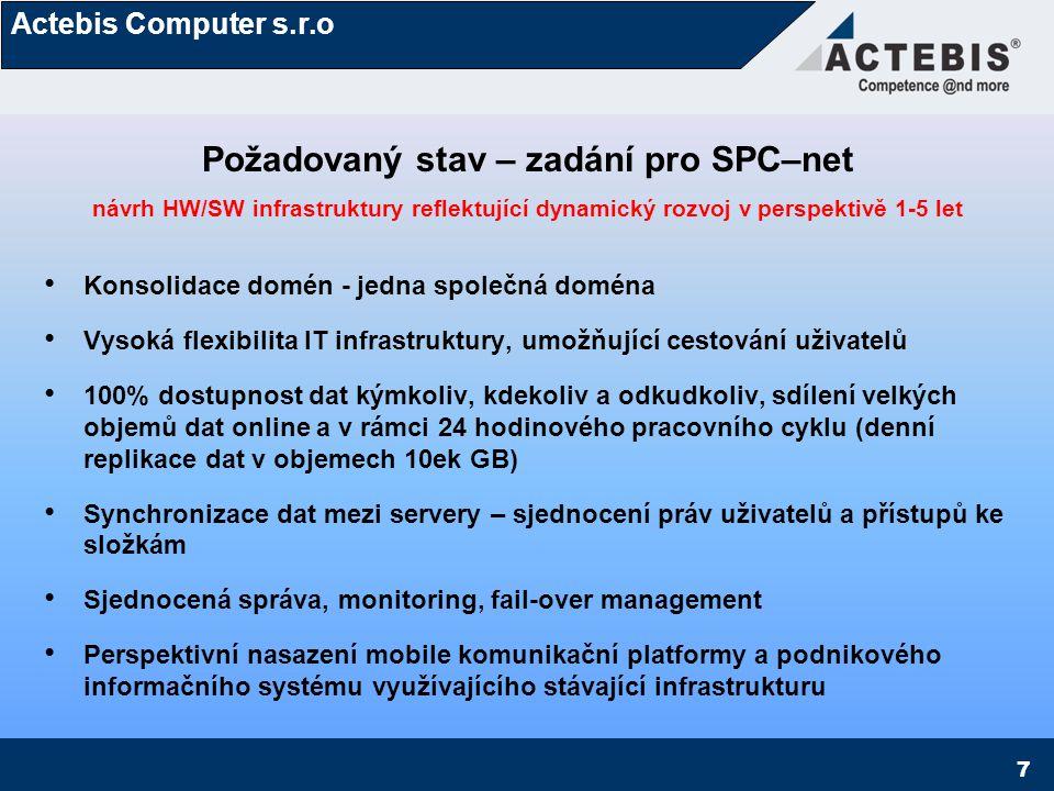 Actebis Computer s.r.o 8 Počáteční stav – rozvaha Přechod z 32 bit na 64 bit - SW platforma – úroveň server Oddělení životního cyklu HW a SW (prozatím) na úrovni serverové infrastruktury) Jazykově nezávislé prostředí – mezinárodní prostředí ve společnosti 32/64bit flexibilní prostředí Možnost downgrade i upgrade produktové platformy Perspektivně HW nezávislé licence na úrovni klienta – mobilní pracovní stanice