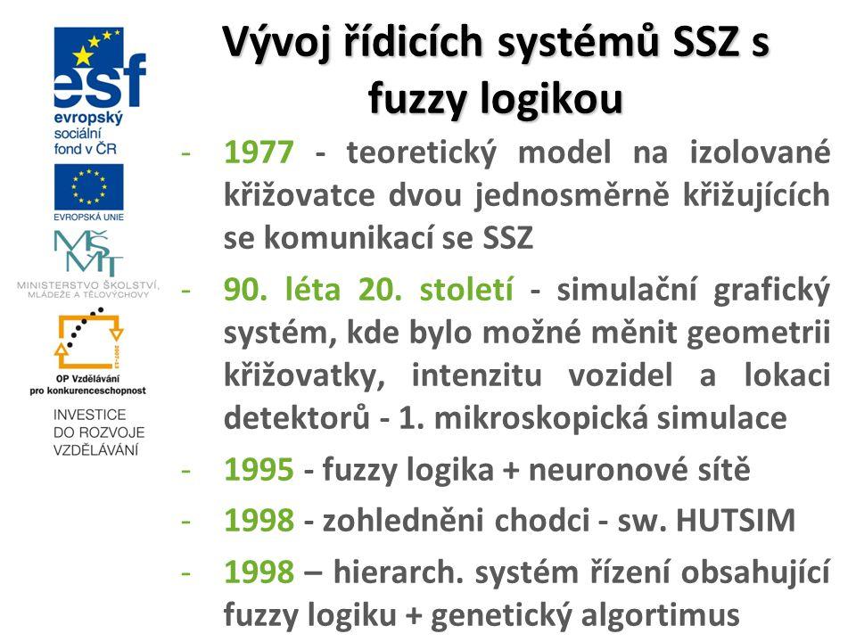 Vývoj řídicích systémů SSZ s fuzzy logikou -1977 - teoretický model na izolované křižovatce dvou jednosměrně křižujících se komunikací se SSZ -90. lét