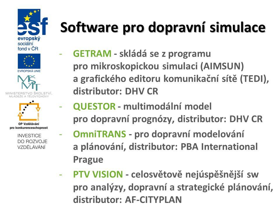 Software pro dopravní simulace -GETRAM - skládá se z programu pro mikroskopickou simulaci (AIMSUN) a grafického editoru komunikační sítě (TEDI), distr