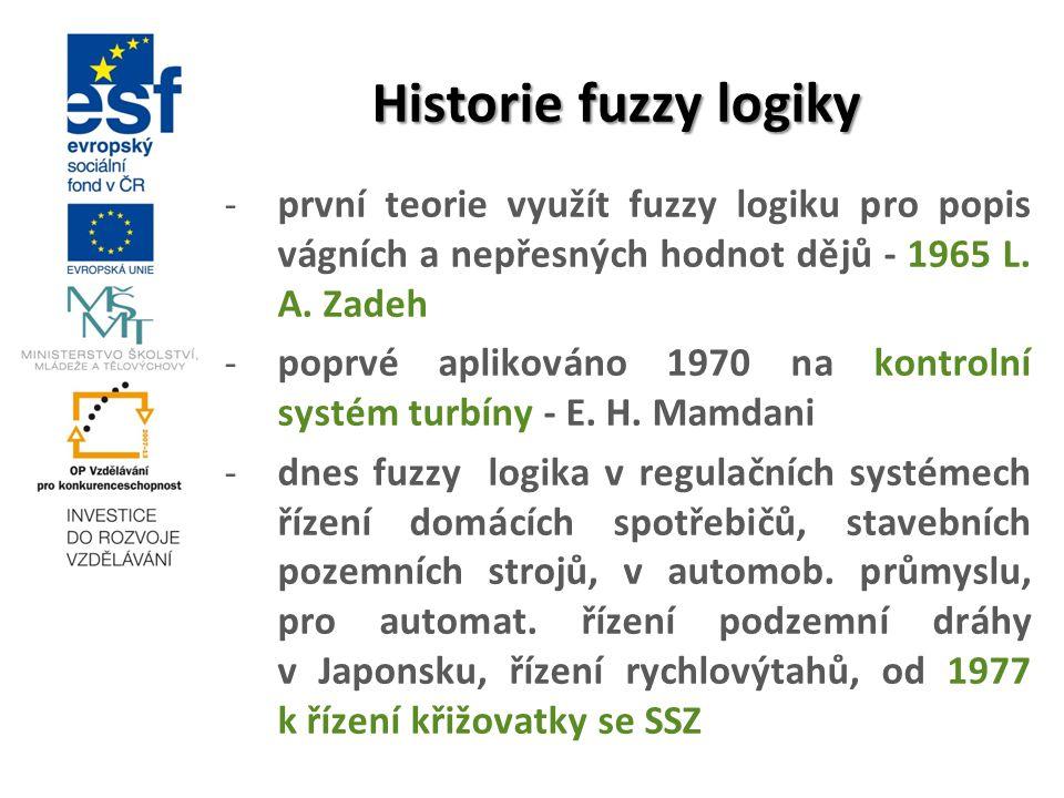 Historie fuzzy logiky -první teorie využít fuzzy logiku pro popis vágních a nepřesných hodnot dějů - 1965 L. A. Zadeh -poprvé aplikováno 1970 na kontr