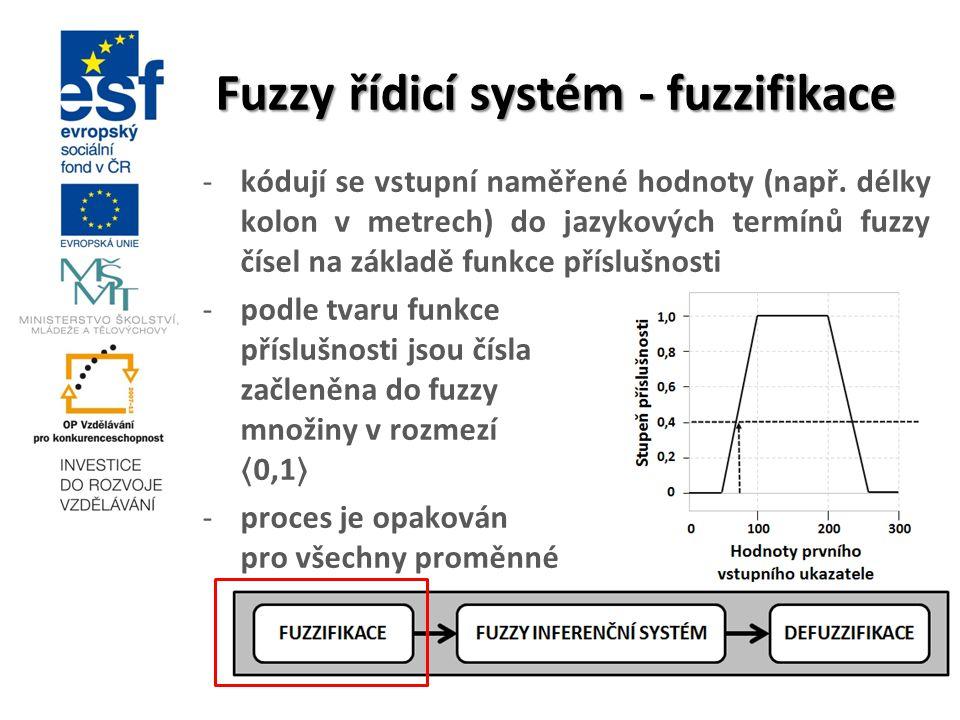 Fuzzy řídicí systém - fuzzifikace -kódují se vstupní naměřené hodnoty (např. délky kolon v metrech) do jazykových termínů fuzzy čísel na základě funkc