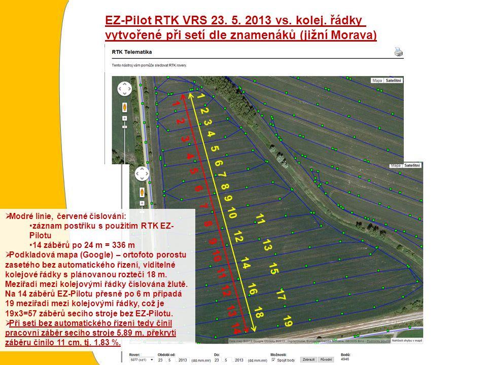 EZ-Pilot RTK VRS 23. 5. 2013 vs. kolej.