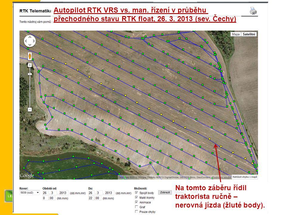Autopilot RTK VRS vs. man. řízení v průběhu přechodného stavu RTK float, 26.
