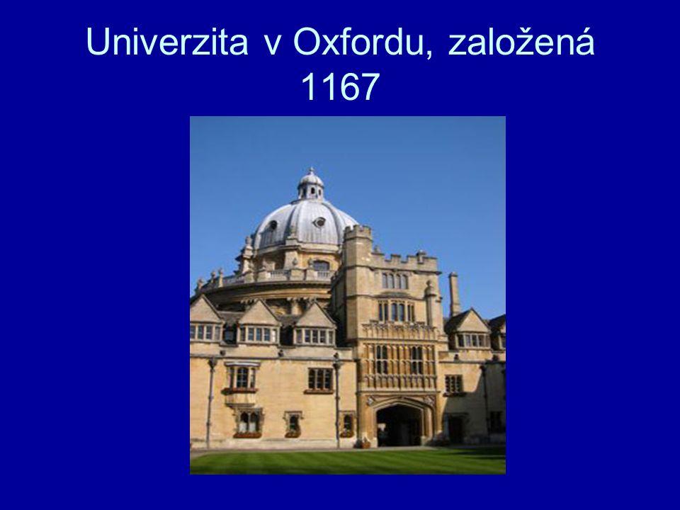 Univerzita v Oxfordu, založená 1167