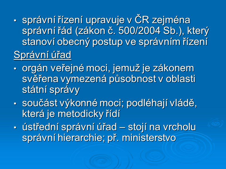 správní řízení upravuje v ČR zejména správní řád (zákon č. 500/2004 Sb.), který stanoví obecný postup ve správním řízení správní řízení upravuje v ČR