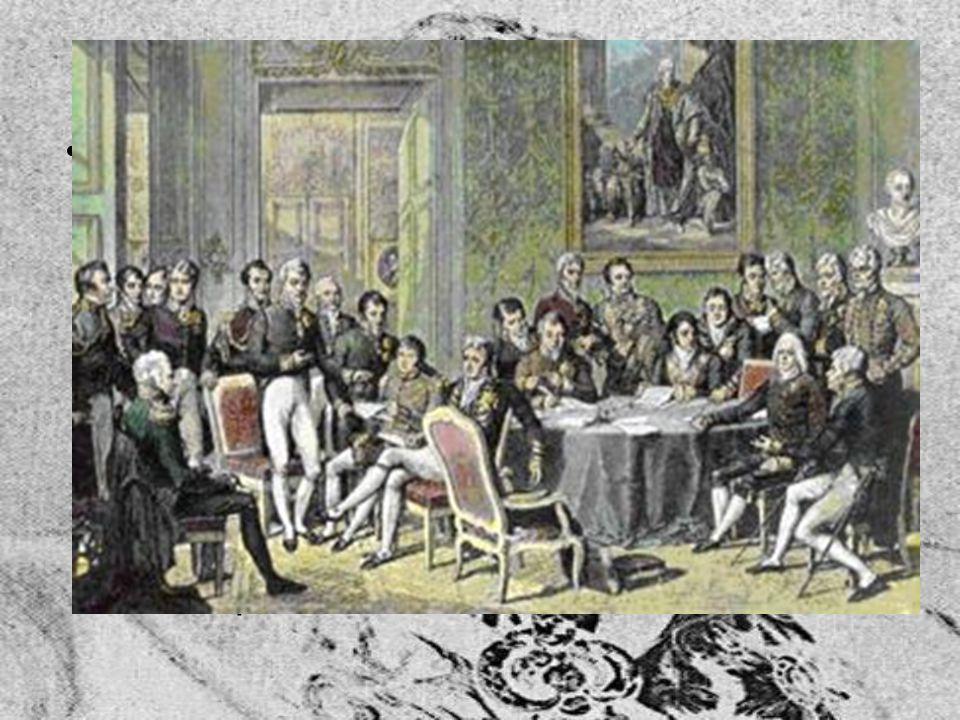 Vídeňský kongres a Svatá aliance Od podzimu 1814 do léta 1815 pořádal ve Vídni mezinárodní kongres Podpořil carovu myšlenku vzniku Svaté aliance (26.