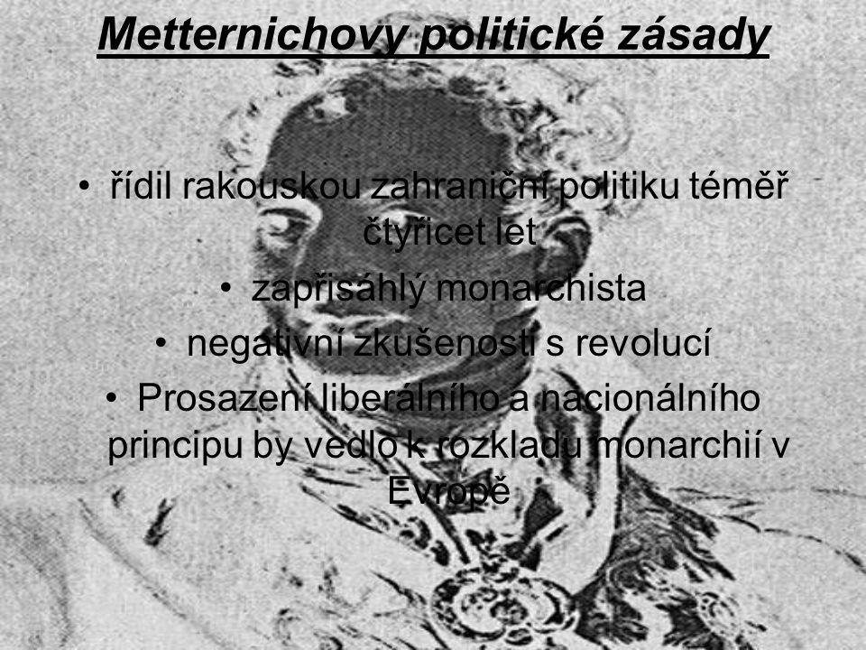 Metternichovy politické zásady řídil rakouskou zahraniční politiku téměř čtyřicet let zapřisáhlý monarchista negativní zkušenosti s revolucí Prosazení