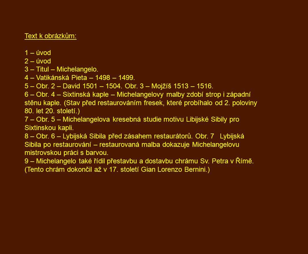 Text k obrázkům: 1 – úvod 2 – úvod 3 – Titul – Michelangelo.