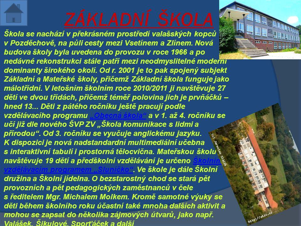 ZÁKLADNÍ ŠKOLA  Škola se nachází v překrásném prostředí valašských kopců v Pozděchově, na půli cesty mezi Vsetínem a Zlínem. Nová budova školy byla u