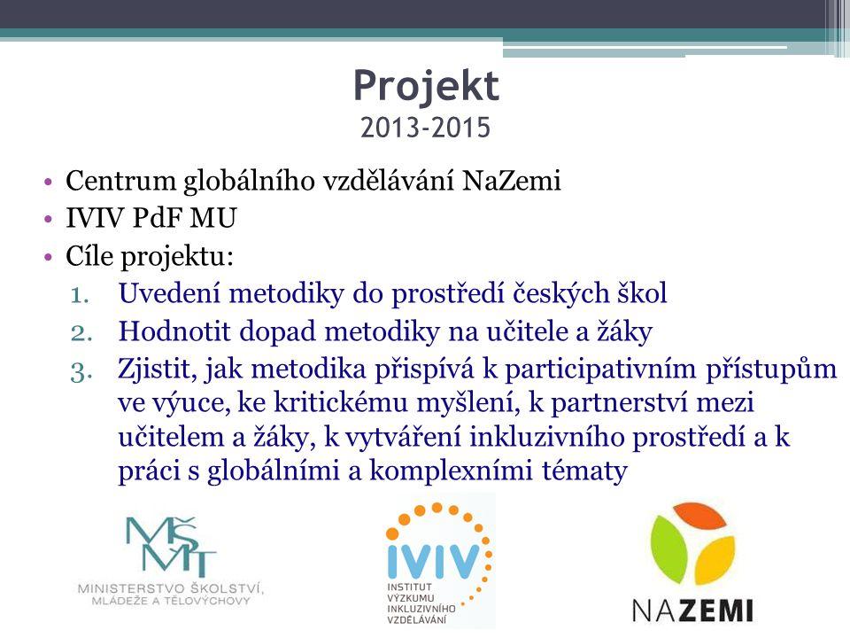 Projekt 2013-2015 Centrum globálního vzdělávání NaZemi IVIV PdF MU Cíle projektu: 1.Uvedení metodiky do prostředí českých škol 2.Hodnotit dopad metodiky na učitele a žáky 3.Zjistit, jak metodika přispívá k participativním přístupům ve výuce, ke kritickému myšlení, k partnerství mezi učitelem a žáky, k vytváření inkluzivního prostředí a k práci s globálními a komplexními tématy