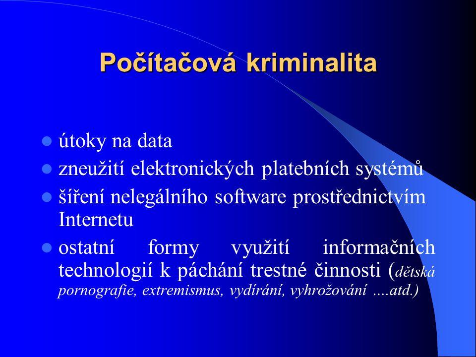 Počítačová kriminalita útoky na data zneužití elektronických platebních systémů šíření nelegálního software prostřednictvím Internetu ostatní formy vy